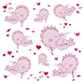 Background with cupids and hearts — Vector de stock