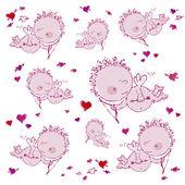 Cupids ve kalpleri arka plan — Stok Vektör
