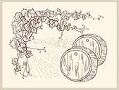 Ručně tažené vinice. — Stock vektor