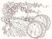 Hand drawn vineyard. — Stock Vector