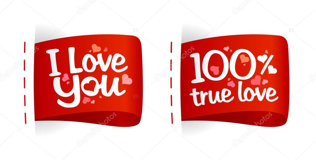 Valentine day labels for gifts with hearts. — Stock Vector #17441737