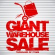 Stock Vector: Giant warehouse sale design template.