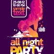All Night Party design template. - Stock Vector