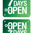7 Days Open signs — Stock Vector #18619955