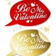 Stock Vector: Be My Valentine stickers.