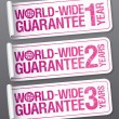 World-wide guarantee stickers. - Stock Vector