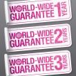 World-wide guarantee stickers. — Stock Vector