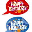 Happy birthday and holidays stickers. — Stock Vector