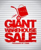 Giant warehouse sale design template. — Stock Vector