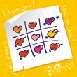 Tic Tac Toe Hearts - Stock Vector