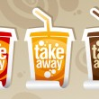 Take away drinks stickers. — Stock Vector #18620157