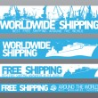 Worldwide free shipping banners. - Vettoriali Stock