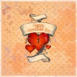 Stockvector : Valentine card with hearts.