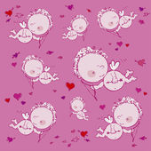 Background with cupids and hearts — Cтоковый вектор