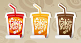 Take away drinks stickers. — Stock Vector
