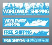 Envío gratis en todo el mundo banderas. — Vector de stock