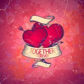 Carte de la saint-valentin avec coeurs. — Vecteur