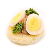 Sandwich with quail egg, paste and parsley. — Stock Photo