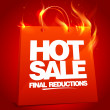 Stock Vector: Fiery hot sale design.