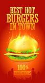 Beste hete hamburgers in stad ontwerp. — Stockvector