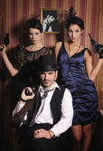 Portrait of three gangsters with guns. — Stok fotoğraf