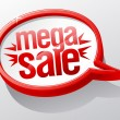 Mega Sale speech bubble. - Stock Vector