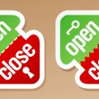 Royalty-Free Stock : Open and close packing signs.