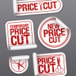 Price cut sale stickers. - Imagen vectorial