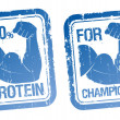 100  Protein, For Champions stamps set. - Stock Vector