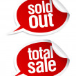 Sold out, total sale stickers. — Stock Vector