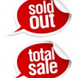 Stock Vector: Sold out, total sale stickers.