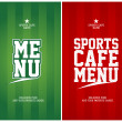 Sports Cafe Menu cards template. — Vettoriali Stock