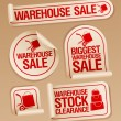 Warehouse sale stickers. -  