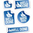 Well done stickers set. - Vettoriali Stock