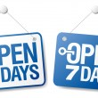 7 Days Open signs - Vettoriali Stock