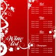 Wine List Menu template. - Imagen vectorial
