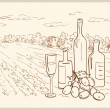 Royalty-Free Stock Vector Image: Hand drawn vineyard.