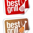 Stock Vector: Best grill food stickers.