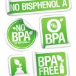 Bisphenol A free products stickers. - Stock Vector