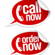 Call now stickers. - Vettoriali Stock