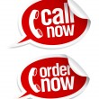 Call now stickers. - Stock Vector