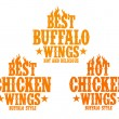 Hot chicken wings signs. — Stock Vector #22885278
