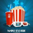 Cinema design template with snack and 3D glasses. - Stock Vector