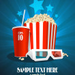 Cinema design template with snack and 3D glasses. — Stock Vector