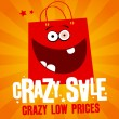 Vector de stock : Crazy sale banner.