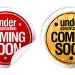 Under construction, Coming soon stickers. - Imagens vectoriais em stock