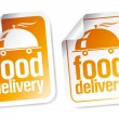 Food delivery stickers. — Stock Vector #22885342