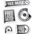 Stock Vector: Free legal music stickers pack.
