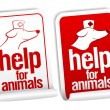 Help for animals stickers. - Stock Vector