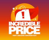 Incredible price, sale design template. — Stock Vector